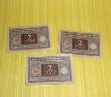 3x Kassenschein 1922 Zwei MARK 2 M Dahrlehensschein Papiergeld papermoney german