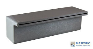 """TOMASO 12"""" SMOOTH WATER FOUNTAIN SPILLWAY CASCADING SCUPPER SPOUT - GRAY"""