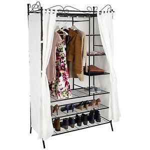 armoire de rangement avec rideau penderie de v tement cadre en m tal beige noir ebay. Black Bedroom Furniture Sets. Home Design Ideas
