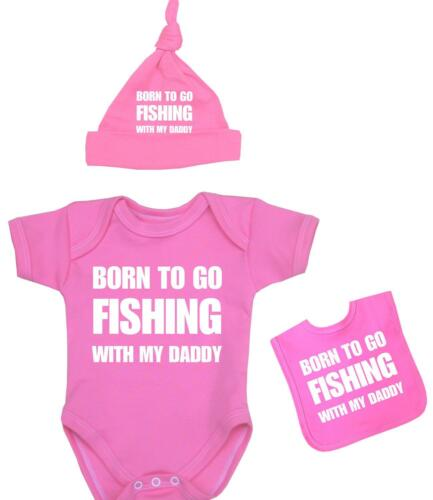 Baby Clothes Boys Girls FISHING With Daddy Vest Hat /& Bib Set Funny Shower Gifts