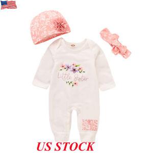3PCS-Newborn-Baby-Boy-Girl-Floral-Clothes-Jumpsuit-Romper-Bodysuit-Headband-Hat