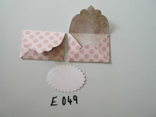 Set of 2 E049 Pink with Pink Circle Flowers Unique Handmade Envelope Gift Tags