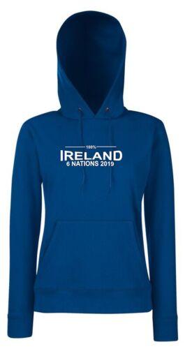 100/% Irlande Six Nations 2019 Femme rugby hoodie
