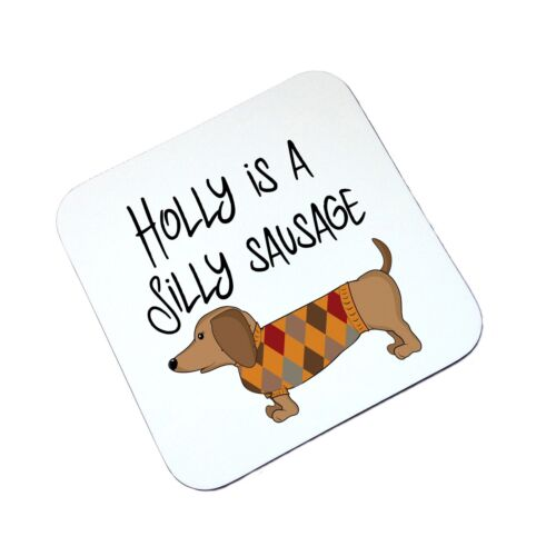 Personalised Sausage Dog Wooden Drinks Coaster Mat Birthday Gift Present