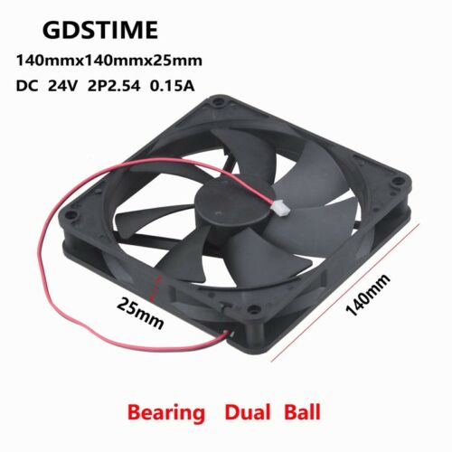2pcs 24V Ball Bearing 140mm 140x140x25mm 0.15A 119CFM Brushless Cooler Fan