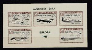Europe-Cept-1965-Guernsey-Sark-Aircraft-Block-Cinderella-MNH
