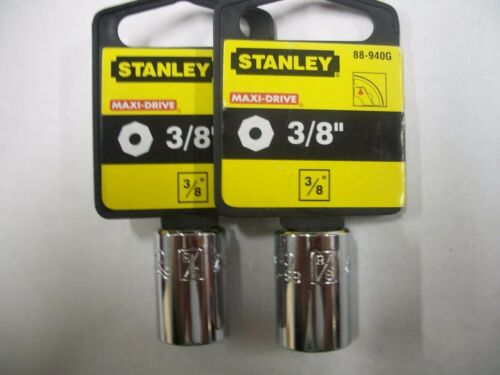 NEW STANLEY 3//8 in Drive  3//8 INCH  MAX DRIVE  8 POINT SOCKETS  TWO SOCKETS