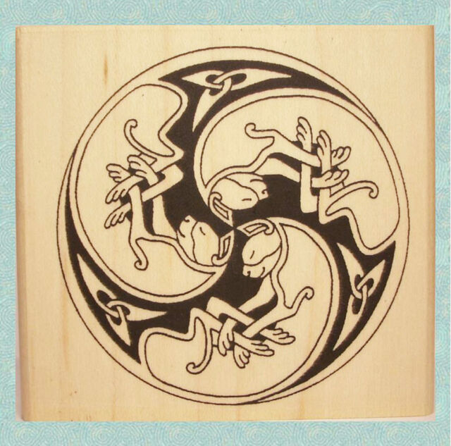 Celtic Cat Spiral Rubber Stamp * Trinity Knot Accents Feline Trio #374