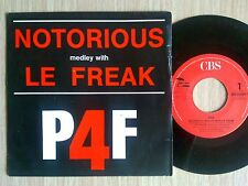 "P4F (DURAN DURAN) - NOTORIOUS MEDLEY WITH LE FREAK - 45 GIRI 7"" ITALY"