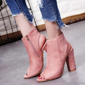 Womens Ladies Platform High Block Heel Sandals Open Toe Ankle Boots Shoes Size