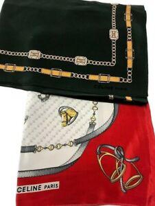 Vintage-amp-Authentic-CELINE-PARIS-set-of-2-Foulard-100-Silk-Scarves