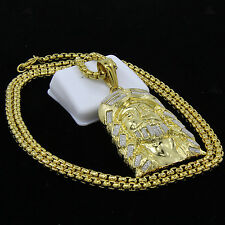 "Mens 14k Gold Stainless Steel 30"" Box Chain Hip Hop XL Jesus Face Pendant S187"