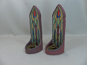 Antique arts and crafts pottery wall candle sconces for Arts and crafts candle sconces