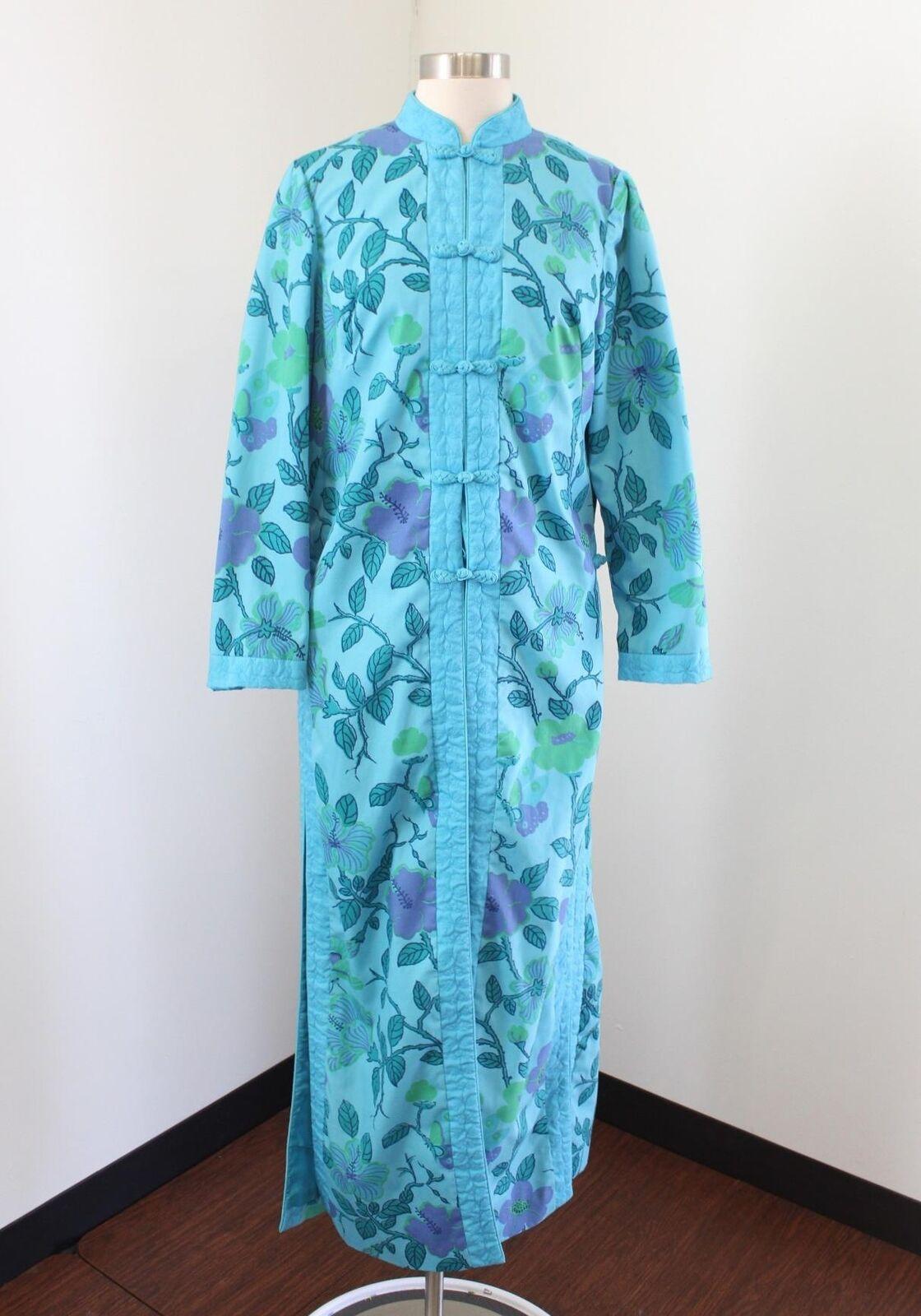 Vtg 70s bluee Floral Butterfly Print Kimono Size M House Dress Oriental Green