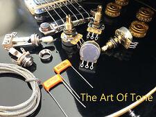 TAOT LES PAUL® Wiring Kit - LONG Shaft - CTS 450G 500K POTS, Orange Drop Caps