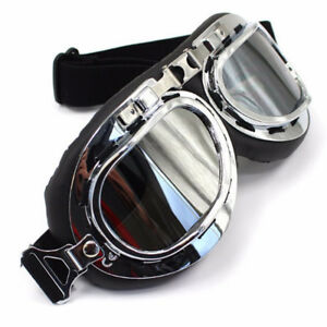 Silver-Frame-Motorcycle-Ski-Goggles-Glasses-Eyewear-Tinted-Lens-Harley-Style