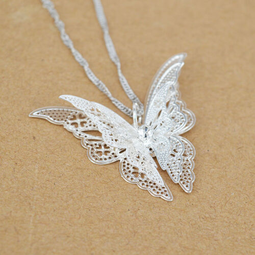 Femme Fille plaqué argent papillon collier pendentif meilleur cadeau