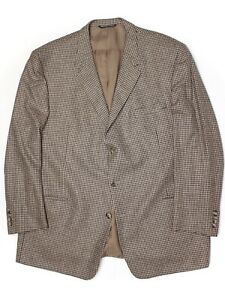 Coppley-Mens-Sport-Coat-48R-Brown-Beige-Houndstooth-Check-Zegna-Wool-Jacket