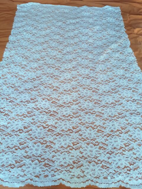 Off White Floral Lace Fabric Remnant Off Cuts Embossed 85cm Wide 145cm Drop
