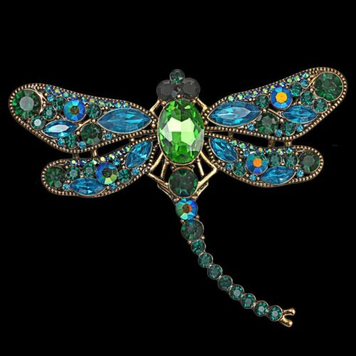 Vintage Crystal Animal Dragonfly Brooch Pin Pendant Necklace Chain Women Jewelry