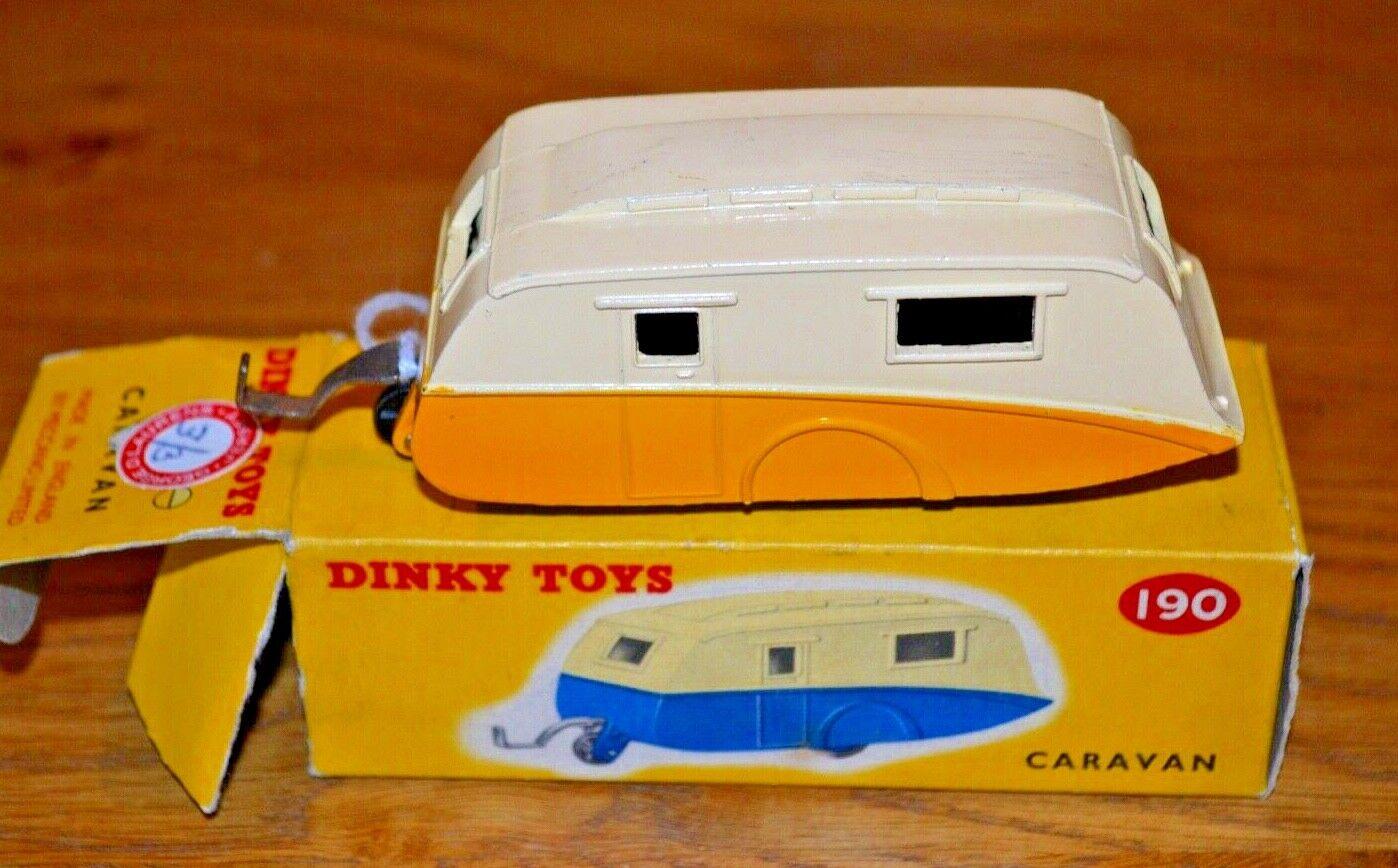 Dinky Toys No 190 Caravan; Original colour coded box and VGC