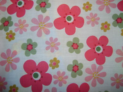 Flower Power Pink Polycotton Prints  Craft Dress Fabric FREE P+P SOLD PER METR