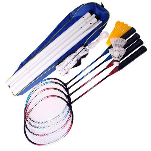 ALERT Sports Badminton Schläger Netz und Bälle Federball Komplett Set 4 Spieler