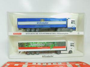 BO632-0-5-2x-Wiking-H0-1-87-Sattelzug-MAN-82-15-Weihenstephan-2634-NEUW-OVP