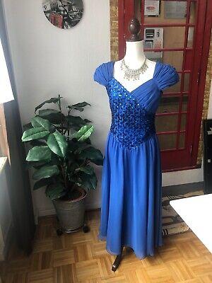 abendkleid lang abiball abschlussball hochzeit blau gr 40 /38  ebay