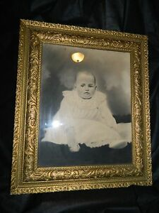 Antique Black White Baby Child Charcoal Drawing Picture Gold Gilded Gesso Frame