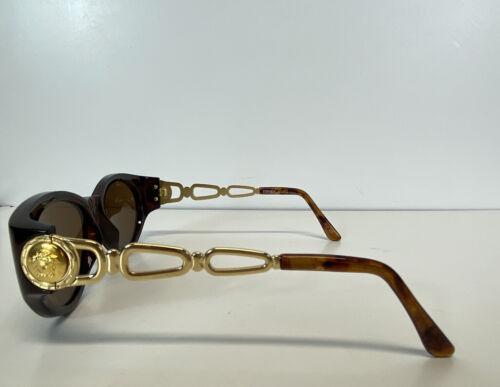 Rare Vtg Gianni Versace Brown Gold Medusa Sunglas… - image 1