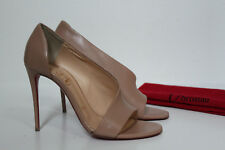 0c5ba3c2eb18 6.5   36.5 Christian Louboutin Toboggan Nude Leather Peep Toe Pump Sandal  Shoes
