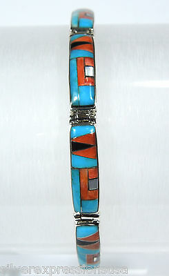 925 Sterling Silver Southwestern Tennis Bracelet with Multicolor Inlay Stones
