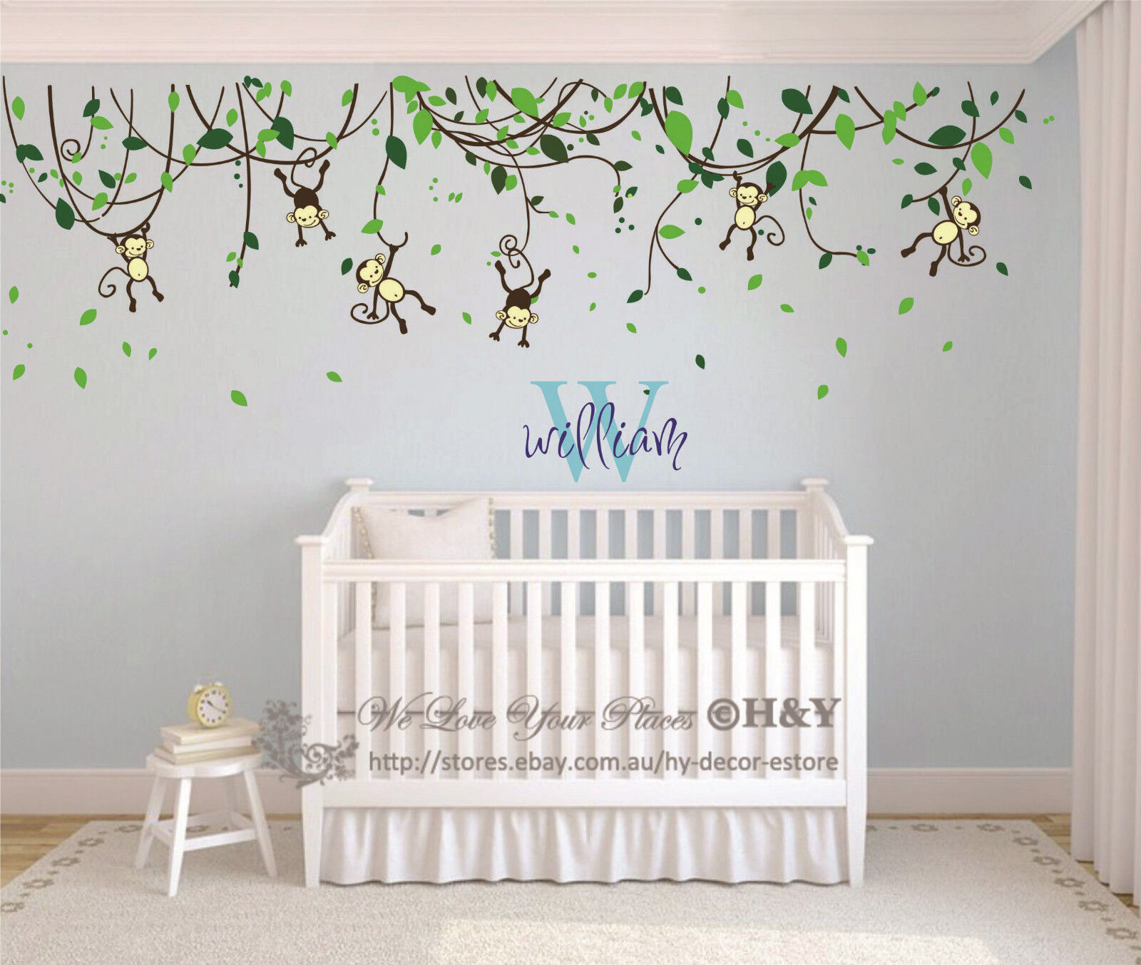 custom personalised name monkey vine wall art stickers kids received package 4 sheets wall sticker personalised name please add ebay message about one kids name when check out