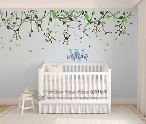 Custom Personalised Name Monkey Vine Wall Art Stickers