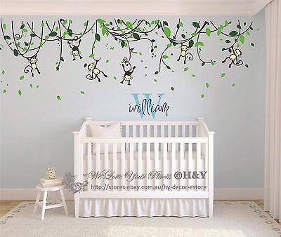 Custom Personalised Name Monkey Vine Wall Art Stickers Kids Nursery Vinyl Decals