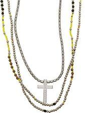 New Armani Exchange AX Mens Beaded Cross Necklace