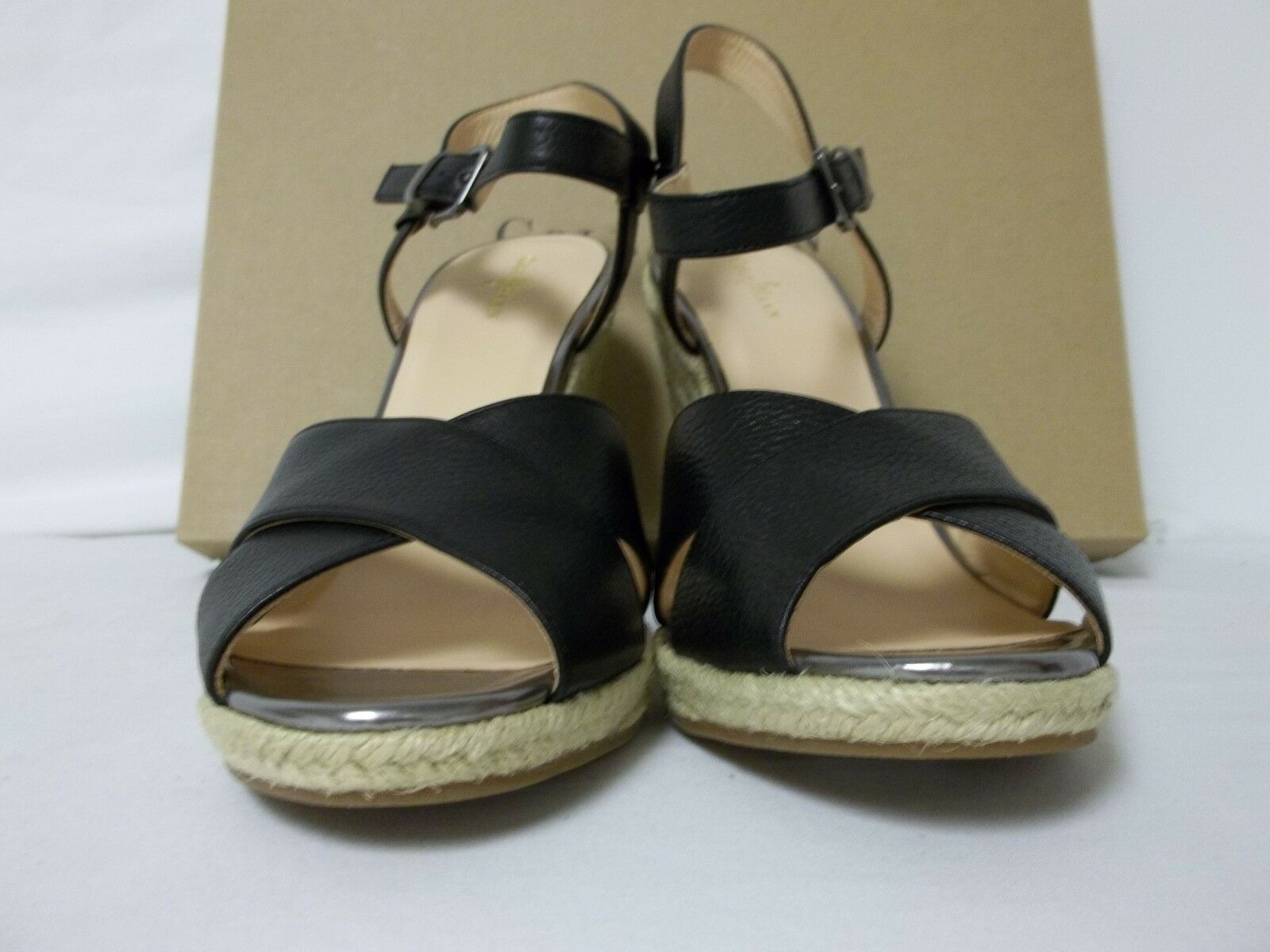 Cole Haan Size Size Size 9 M Hart Black Open Toe Wedges Leather New Womens shoes dca680