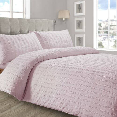 Crimped Seersucker Duvet Cover Pillowcase Bedding Set Silver White Charcoal Pink
