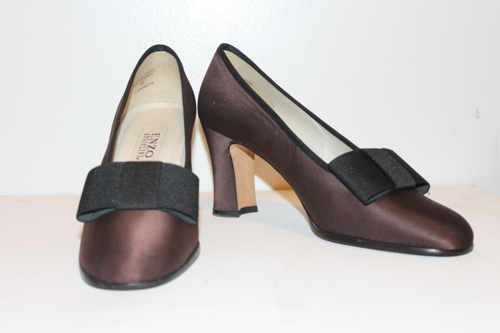 NEW Enzo Angiolini Copper Copper Copper Brown Satin Slipper Heel Black Bow size 9B Medium bfce01