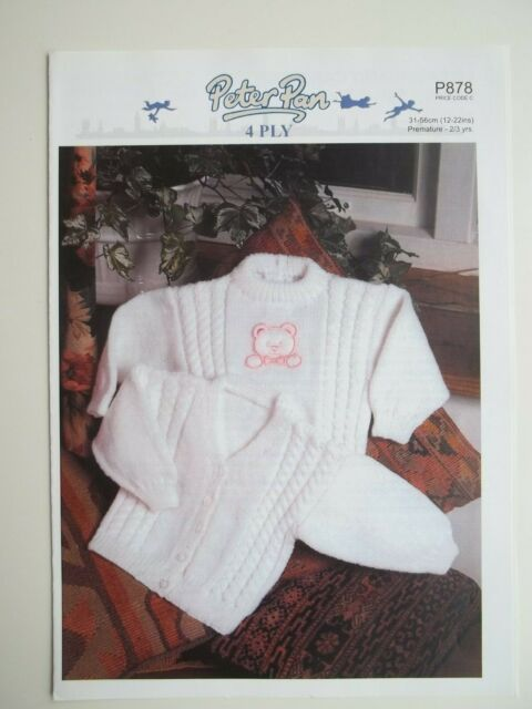 16-22/'/'  776 DK Knitting Pattern for Baby Lacy Sweater with Flower Motif