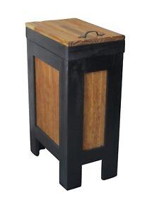 Details about Wood Trash Bin Kitchen Trash Can Wood Trash Bin storage  cabinet w/ Metal Handle