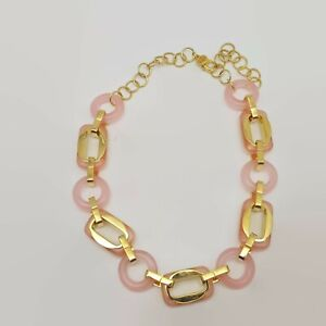 Tory-Burch-Pink-Glass-Link-Gold-Tone-Necklace