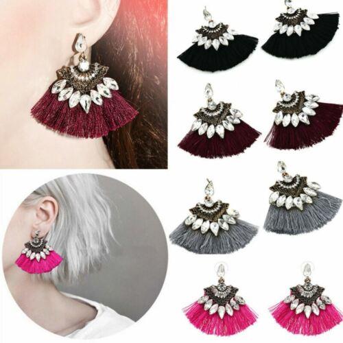 Diamante Crystal Rhinestone Tassels Ear stud Dangle Drop Earrings Women Jewelry