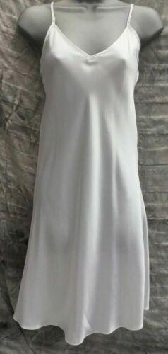 White silky nightie full slip chemise nightwear underwear pyjamas nightdress NEW