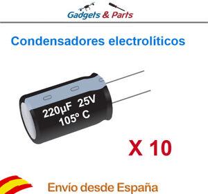 10-Condensadores-Electroliticos-220-F-25V-6-x-11-mm-Aluminio-Nuevos