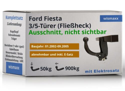 ANHÄNGERKUPPLUNG abnehmbar passend für Ford Fiesta 02-05 7-polig E-Satz ABE