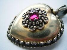 Wunderschöner 835 Silber Granat Herz Anhänger zum Dirndl oder zur Tracht