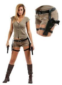 Holster double cuisses Lara Croft deguisement cosplay accessorie sans pistolet