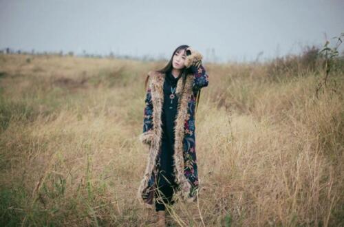 Hooded Faux Blomster Coat Fur Thicken Bohemian Parka Long Kvinders Bomuldpolstret 6PZtqSww